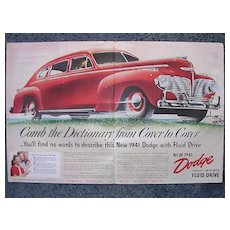 1940 DODGE  Double Page Spread Advertisement