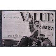 1939 General Motors 'VALUE' Double Page Advertisement