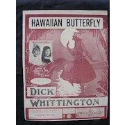 HAWAIIAN Butterfly Sheet Music 1917