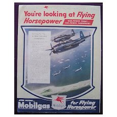 "Esquire1945 MOBILGAS Advert ""You're Looking at Flying Horsepower"""