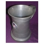 S.S. Corinthic Stippled Pewter Tankard With Etched Glass Bottom