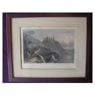 Victorian Hand Coloured Steel Engraving 'HARLECH CASTLE' Circa 1840