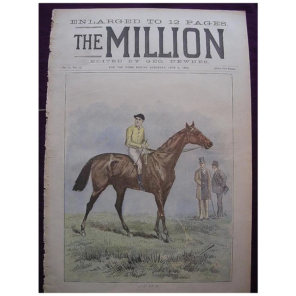 1892 Front Cover Of THE MILLION Newspaper The Racehorse 'ORME'