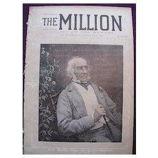 1892 Font Cover THE MILLION Newspaper 'The Right. Hon. W.E. Gladstone'