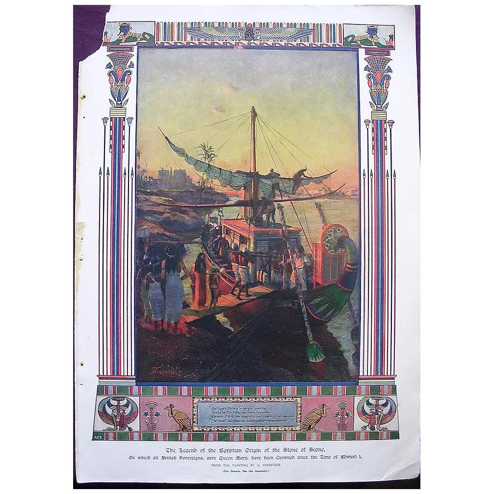 Coronation Of King George V & Queen Mary - Plate VV111 The Legend Of The Egyptian Origin Of The Stone Of Scone