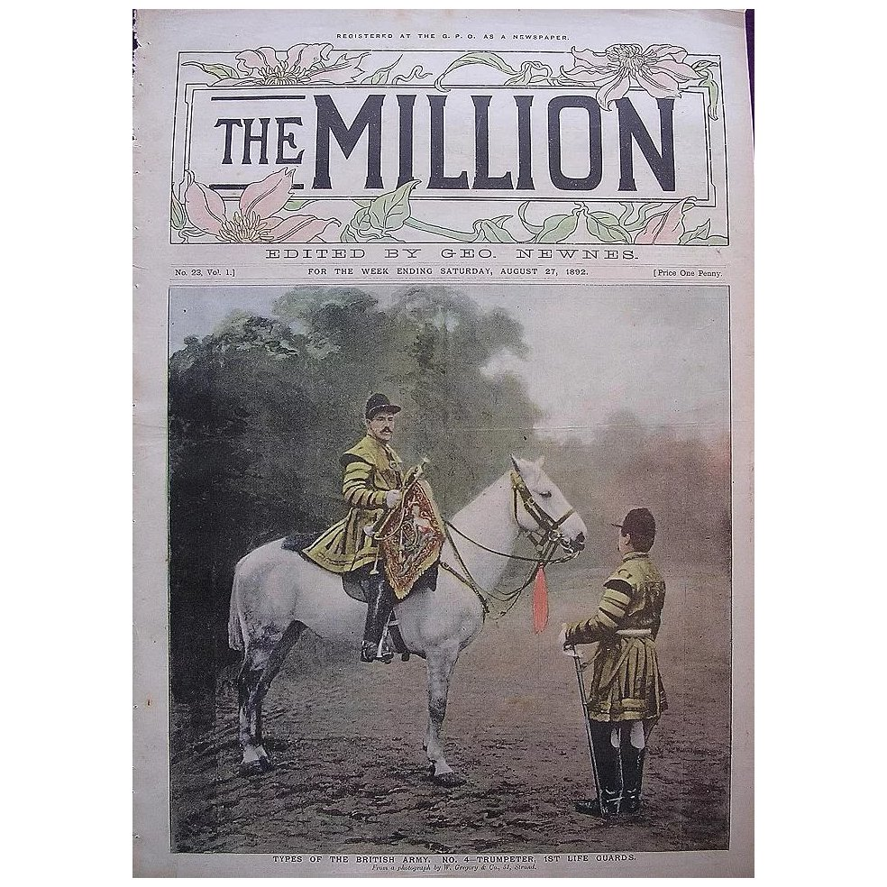 1892 Front Cover From THE MILLION 'Types Of The British Army -Trumpeter, 1st Life Guards'