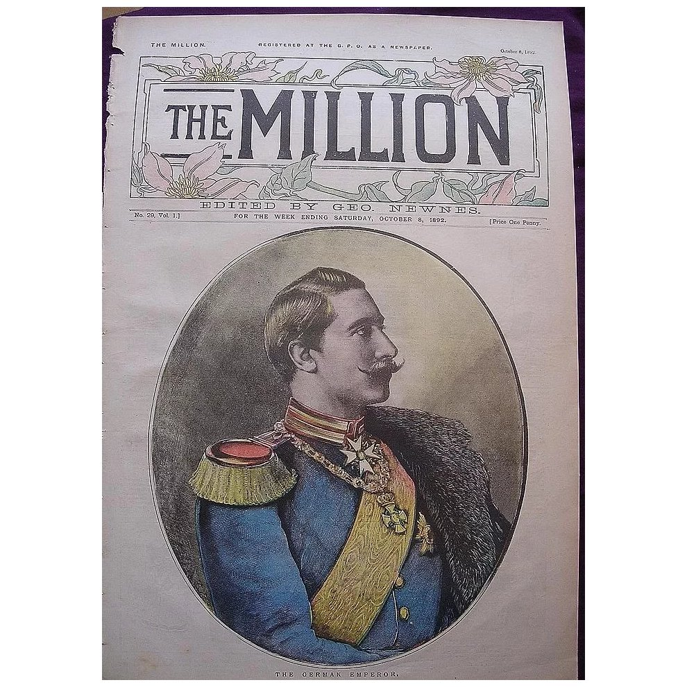 1892 Front Cover From THE MILLION Newspaper 'The German Emperor'