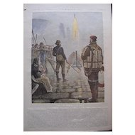 1892 Full Colour Page From THE MILLION Newspaper 'Firing A Fog Signal On Lundy Island'