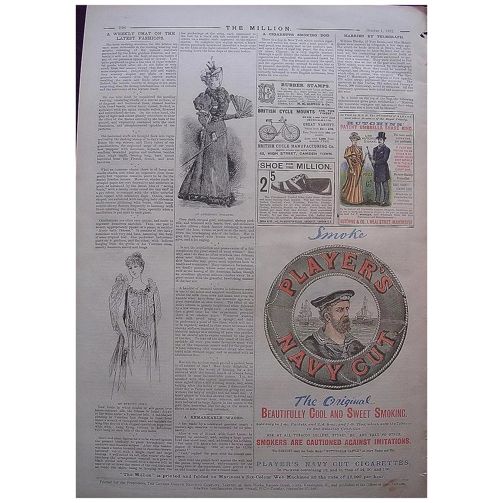 1892 Page of Victorian Adverts From THE MILLION Newspaper
