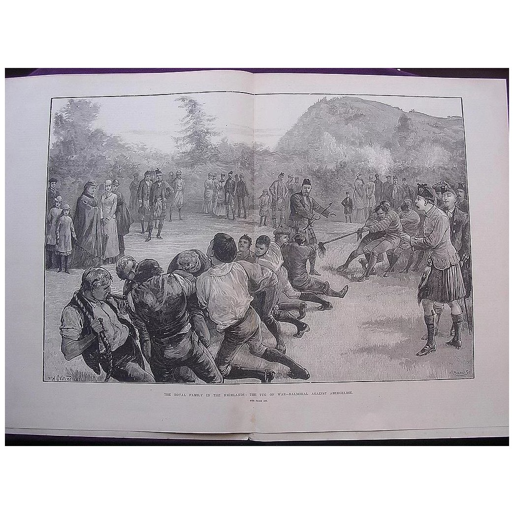 'The Royal Family In The Highlands: The Tug Of War - Balmoral Against Abergeldie' - Illustrated London News Oct. 29 1881