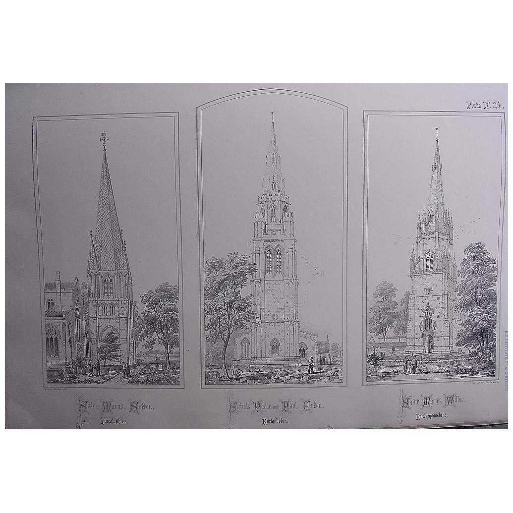 Stunning Large 1858 Lithograph of St. MARY'S -Sutton: St. MARY'S - Wilby: St. PETER & St. PAUL - Exton