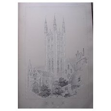 Stunning Large 1858 Lithograph of THE CATHEDRAL  - Canterbury - Kent