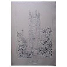 Stunning Large 1858 Lithograph of SAINT GILES' - Wrexham - Denbighshire