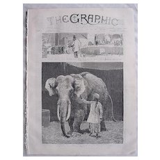 Front Cover of THE GRAPHIC Jan. 1884 'Mr Barnum's White Burmese Elephant - Toung Taloung'