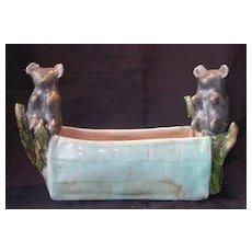 Fabulous RARE 1930's KOALA'S & Gum Nuts Drip Glaze Pottery Trough
