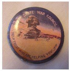 World War One Australian War Effort Pin-Back Badge 'EGYPT'