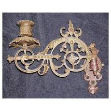 A Beautifully Ornate BAROQUE Victorian Piano Sconce in Gilt Over Brass