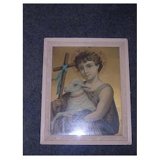 Victorian Framed Religious Lithograph ' Baby Jesus & The Lamb Of God'