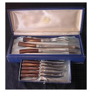Retro  1960's Boxed Carving Set 'Sheffield Steel With Simulated Bone Handles'