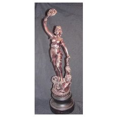 Superb Victorian Spelter Statuette Of British Industry