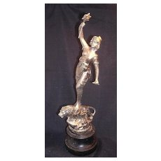 Beautiful Victorian Spelter Statuette of Lady & Lion - Rule Britannia