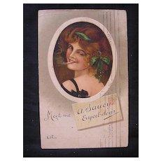 "Stunning Old 1911  Postcard 'A Saucy Eyed-Dear"""