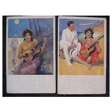 A Pair of Rare Early 1900's HAWAIIAN HULA Inspired Cards