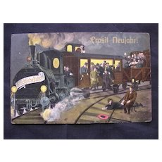1913 German Postcard Of A Train 'Prosit Newjahr!'