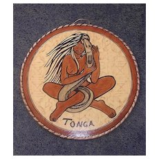 Tongan Painting of Nude Wahine With Eel Done On Tapa Cloth & Board