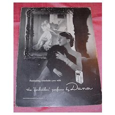 DANA Perfume Mounted Display Poster for TABU Circa 1945