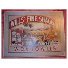 WILLS's Fine Shagg Tobacco Mounted Display Poster