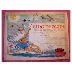 QANTAS  'King Neptune'  Equator Certificate 1963