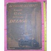 1920's Original Advertising Poster DELAGE  17 CV - Six-Cylinders
