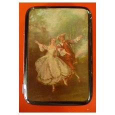 Art Deco 1930's Cigarette Case With Georgian  Dancing Couple Cover