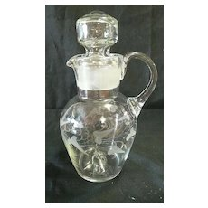 Victorian Hand Blown Glass Sauce Jug With Etched Decoration