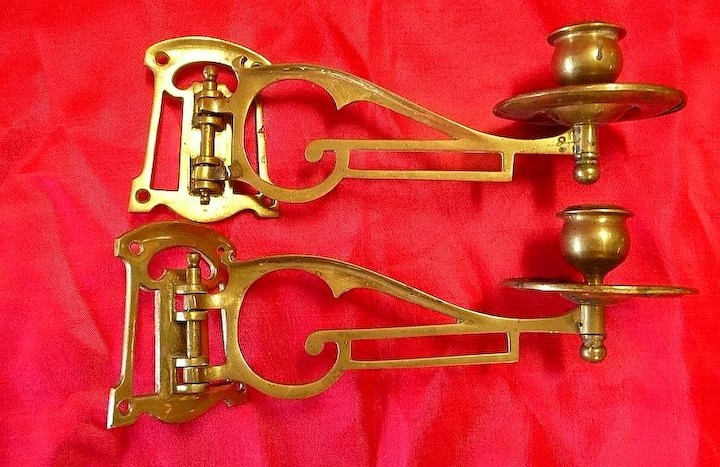 best service aeb79 9d4a4 A Pair of Victorian ARTS & CRAFTS Piano Candle Sconces Circa 1890