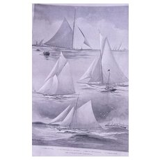 """Lord Dunraven's Yacht """"VALKYRIE III' Full Page from The London Illustrated News August 1895"""