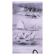 'The Royal Yacht Squadron Regatta at Cowes' Full Page from The London Illustrated News August 1895
