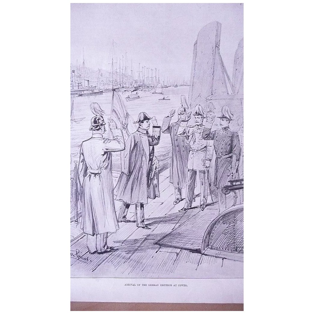 'Arrival of The German Emperor at Cowes' Front Page from The London Illustrated News August 1895