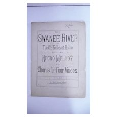 Black Americana Sheet Music ' The Swanee River' Circa 1890