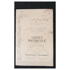French Foreign Legion - 'Livret ' or  Service Booklet - 1948 Indochine