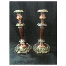 A Pair of Ornate Victorian Candle Sticks Circa 1860 -1880