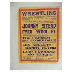 WRESTLING  - Genuine Old 1950 Advertising Poster - Scarborough England