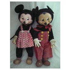 "RARE  LARGE 23"" Tall  GUND Mickey & Minnie Mouse Dolls - Circa 1940"