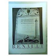 ORIGINAL RENAULT Advert  From L ' Illustration French Magazine October 1938