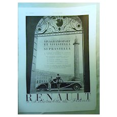 ORIGINAL RENAULT Advert  From L ' Illustration French Magazine October 1938