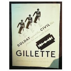 "ORIGINAL ""GILLETTE"" Advert From L ' Illustration French Magazine May 1940"