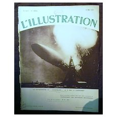 "ORIGINAL ""HINDENBURG "" Front Cover  From L ' Illustration French Magazine May 1937"