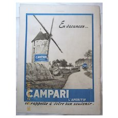 "ORIGINAL ""CAMPARI"" Advert From  L ' Illustration French Magazine  July 1938"
