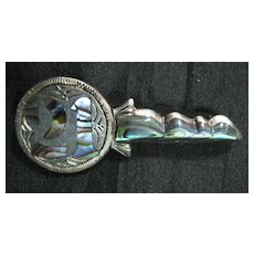 Sterling Silver & Paua Shell 21st  KEY Brooch Circa 1940's